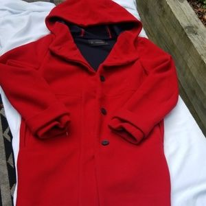 Zara hooded button up Peacoat, bright red